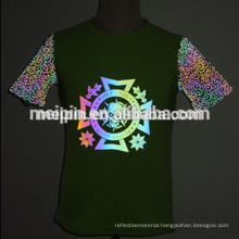 High Quality OEM cotton t shirt comfortable tshirt in rainbow reflective logo