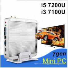 La última generación de Fanless Mini PC Core I5 7200u I3 7100u Intel HD Graphics620 14 Nm Wind10 Barebone 4k HTPC Mini Desktop