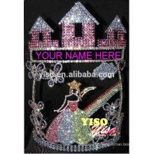 Best seller de promoção de beleza quente venda castelo borboleta feericamente rainha tiara coroa