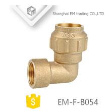 EM-F-B054 Messing Spanien 90-Grad-Innengewinde Kompressionswinkel Rohrfitting
