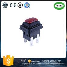Interrupteur à bouton-poussoir étanche, interrupteur à bouton-poussoir carré, lampe étanche Auto-bloquant 6 A250V Interrupteur à bouton-poussoir