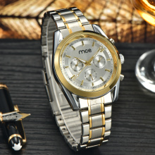 sliver with golden stainless steel fashion watch
