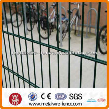 Green plastic coated double wire fence designs