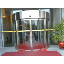 Automatic curved sliding door with glass