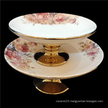 White gold plate for home or hotel use round ceramic fruit plate with tall foot
