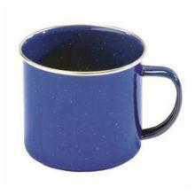 Chaleira azul do Cookware do esmalte, utensílios da cozinha, caneca de acampamento do esmalte