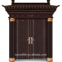 Steel Villa Luxury Entry doble puerta grano piel galvanizada hoja pintura de cobre negro