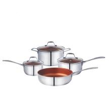 Panela de cozinha antiaderente de 7 peças de aço inoxidável