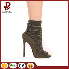 suede lace up 12cm high heel shoes