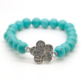 Turquoise 8MM Round Beads Stretch Gemstone Bracelet with Diamante alloy Flower Piece