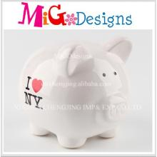 New Design Hot Sale Lovely Pig Shape Ceramic Coin Bank