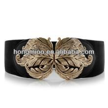 luxury carving metal golden leaves belt elastic lady's wide decoration belt h&m