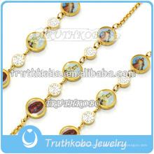 Bracelet de modèle de lien de charme de croix en acier inoxydable de bijoux de prière religieux