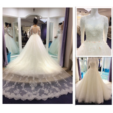Custom Made 2016 new Arrival Long Sleeve White 3D Flower Puffy Delicate Crystal Bridal Wedding Gown With Detachable Tail A181