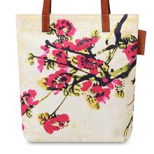 Beach style bright canvas tote bag