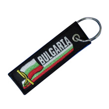 Custom Brilliant Twill Embroidered Keyring Tag