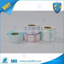 ZoLo gute Qualität verschiedene Größe benutzerdefinierte drucken und leere Klebstoff thermische Etikettenrolle