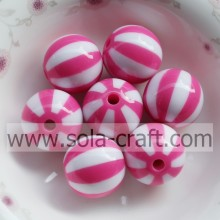 16MM 500Pcs 2014 New Hot Fashion DIY Rose & White Striped Resin Beads For Bracelet Bijous Yiwu Factory