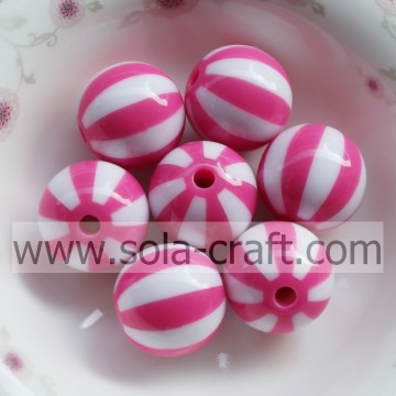 Newest ! 20MM 500pcs/lot Light Rose Striped Resin Acrylic Solid Beads,Chunky Beads For Necklace