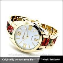 Fashion flower print lady poignet en acier inoxydable retour geneva quartz watches