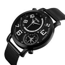 SKMEI 9168 Dual Time Display Stainless Steel Strap Quartz Mens Watches