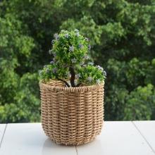 Round Plastic Rattan  Flower Pot