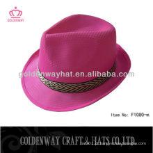 Chapéus de fedora rosa chapéu de poliéster barato bonés promocionais PP com logotipo de design personalizado