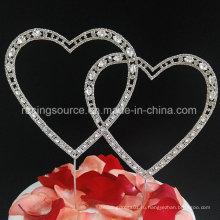 Старинные Кристалл двойные сердца rhinestone свадебный торт Топпер для украшения партии