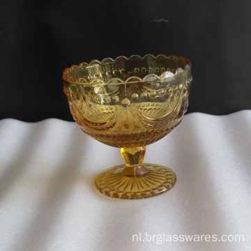 Amber Glass Ice Cream Bowls Met Uique Pattern Design