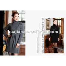 vestido largo suéter de las mujeres elegantes / tejidos de cachemira 100% puros
