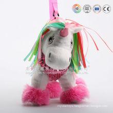 China custom made plush hot water bag & plush backpack unicorn