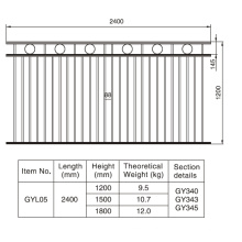 Elegant Style 1.2/1.5/1.8m. H X 2.4 M. W Aluminum Black Fence Section