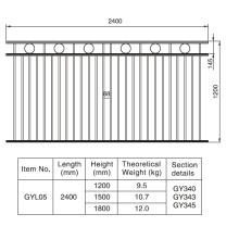 Estilo elegante 1.2 / 1.5 / 1.8m. HX 2.4 M. W Alumínio Preto Fence Seção