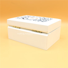 White wooden carved jewelry box