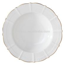 Elegante prato de sopa de china de osso fino com ouro