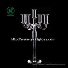Bougeoir en verre pour décoration intérieure avec 5 postes