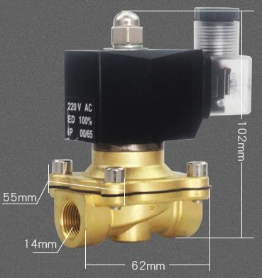 Overall dimension of 3/8'' Thread CKD Type ADK11-10N/G/A Solenoid Diaphragm Valve