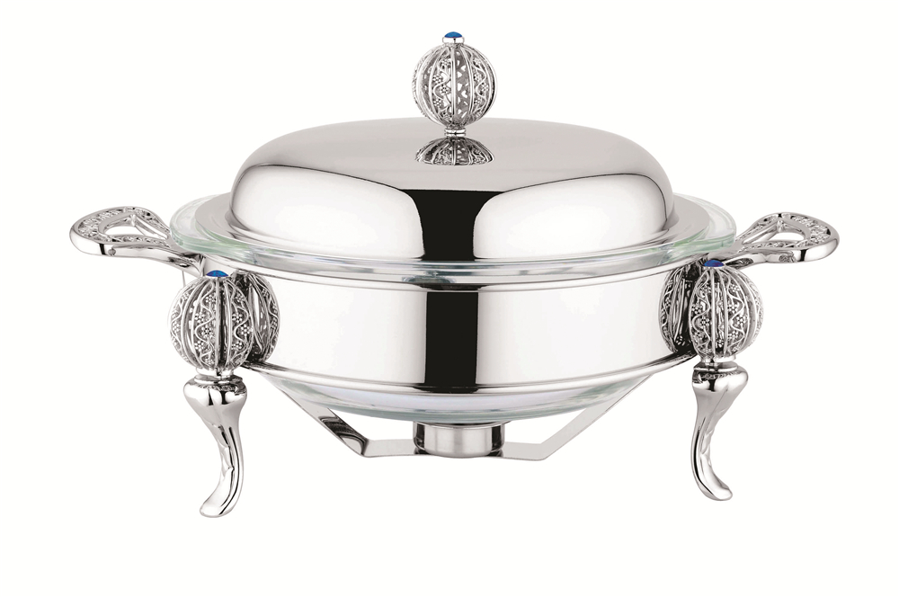 round glass food warmer