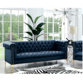 Mid Century Classic Sofa Chesterfield Blue Leather Lounge Sofa for Living Room Home Furniture Set