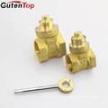 GutenTop High Quality Brass Lockable Valve with Stainless Steel Handle Key Lockable Gate Valve