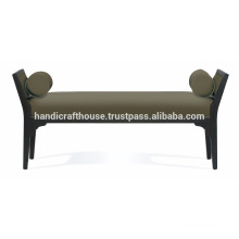 Solid wood fabric long living room bench