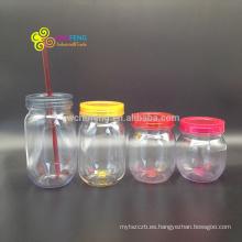 La mejor venta 500ml Custom Wholesale Mason Jars con tapas y pajitas