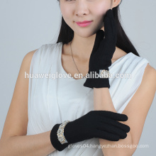 2015 fashion pearl cuff design women black wool gloves