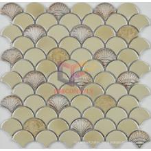 Cream Beige Ceramic with Light Emperedor Marble Mosaic (SA003)