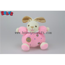 "5.9""China Plush Baby Toy Cute Soft Pink Rabbit Bunny Animals with Ring Rattle"