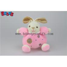 """5.9 """"China brinquedo do bebê de pelúcia bonito coelho cor-de-rosa macio animais do coelho com chocalho do anel"""