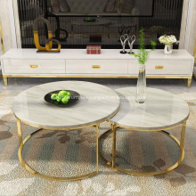 Stainless steel marble high and low coffee table