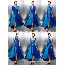 Frete grátis Royal Blue Chiffon Evening Dress Design Open Back Prom Dress Vestidos de graduação sem mangas 2016 C47-1