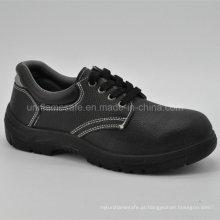 Sapatos de segurança masculinos de couro preto completo