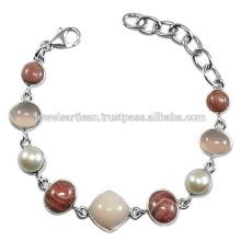 Rosa Opal und Multi Edelstein 925 Sterling Silber Armband Schmuck
